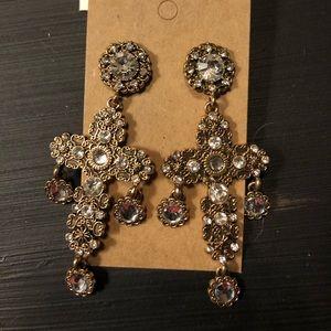 Statement Rhinestone Cross Earrings